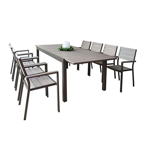 Set Tavolo e sedie da Giardino per Esterno in Alluminio cm 180/240 x 100 x 73 h con 8 sedute Colore Taupe