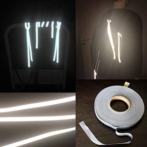 20m Reflektorband Schnur, Vibury 1cm dehnbar Band Hochreflektierend Reflektierender Stoff Reflexstoff zum Anbinden an Reißverschluss Taschen Hosen Rad Kleidung - Sicher in der Nacht