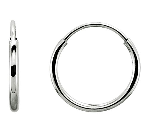 Tiny 14K Gold Thin Continuous Endless Hoop Earrings (1mm Tube) (.39 inch - 10mm - White Gold)