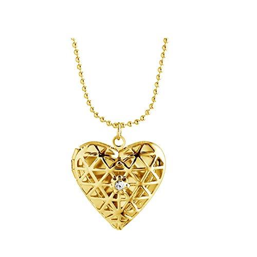AueDsa Collar de Foto Medallón,Collar de Medallon Corazón Hueco Circonita Collares Mujer Medallon Oro