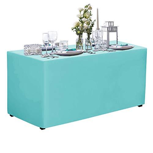 VEEYOO - Mantel Rectangular de poliéster para Banquetes de Boda, Multicolor, poliéster y Mezcla de poliéster, Azul Marino, Table Cover-4 Feet