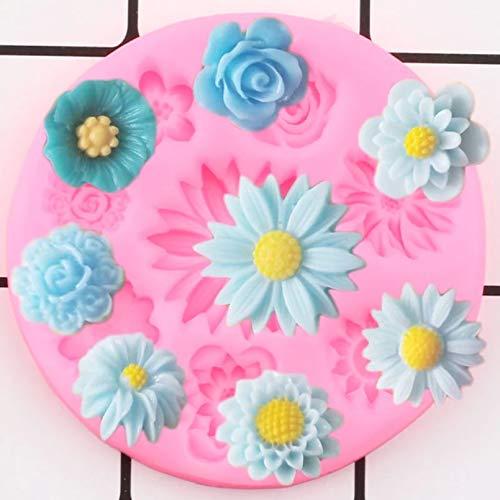 GEYKY Blumensilikonformen Gänseblümchen Rose Mohn Topper Form DIY Hochzeitstorte Dekorationswerkzeuge Praline Schimmelpilz Formen