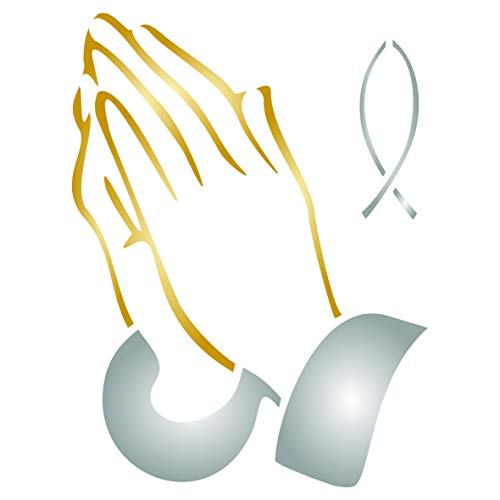 Praying Hands Stencil, 6 x 8 inch (L) - Religious Catholic Fish Wall Stencils for Painting Cards