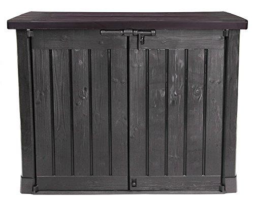 Keter Ondis24 B-Ware Mülltonnenbox Gartenbox Gerätebox MAX/anthrazit braun / 1200 L/für 2 x 240 L Mülltonne/abschließbar/Deckel mit Gasdruckfedern/hochwertiger Kunststoff