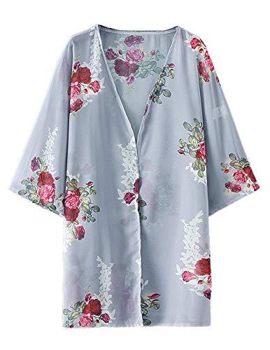 Zexxxy Ladies 3/4 Manga Floral Chiffon Casual Kimono Suelto Cardigan Capas Gris, Medio