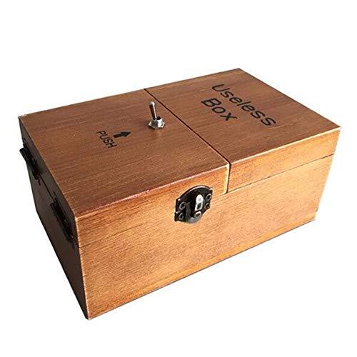 Maijia Useless Box Wooden Macht Sich selbst fertig zusammengebaut Funny Toy Lassen Sie Mich allein Machine Box für Geburtstag und Party Geschenk Toy Game (Brown, Useless Box)