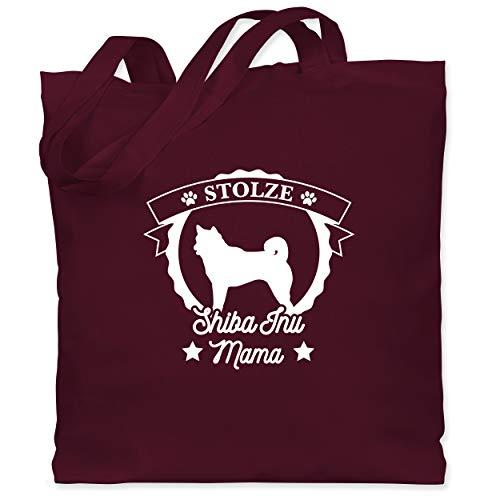 Geschenk für Hundebesitzer - Stolze Shiba Inu Mama - Unisize - Bordeauxrot - WM101 - WM101 - Stoffbeutel aus Baumwolle Jutebeutel lange Henkel
