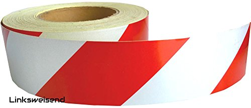 UvV-Reflex UVWB4571.10 linkswesende Warnmarkierungsfolie/Hazard Warning Tape Rolle Rot-Weiss 50 mm Breit, 45 m Lang Vollreflektierende (Reflexklasse RA1) Selbstklebende Warnmarkierung
