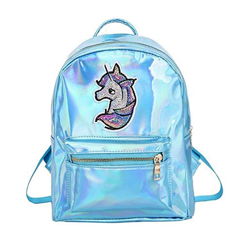 TENDYCOCO Mochila de unicornio para niñas Mochila escolar con brillo láser Mochila escolar de viaje holográfica Mochila impermeable antirrobo - Azul