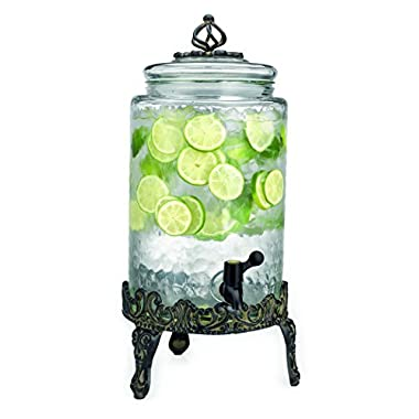 Elegant Home High Quality Hammered Glass Beverage Dispenser - 2.7 Gallon, with Glass Lid and Antique Metal Stand