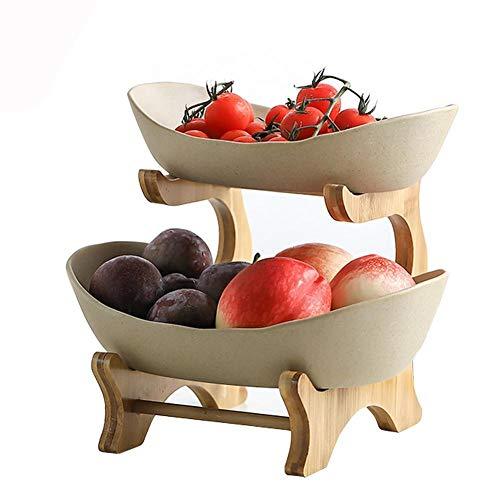 Cratone Obst Etagere 2 Etagen Keramik 2 Stöckig Obstschale mit Bambus ständer, Snack Bonbon Platte Obstteller Wohnzimmer Deko