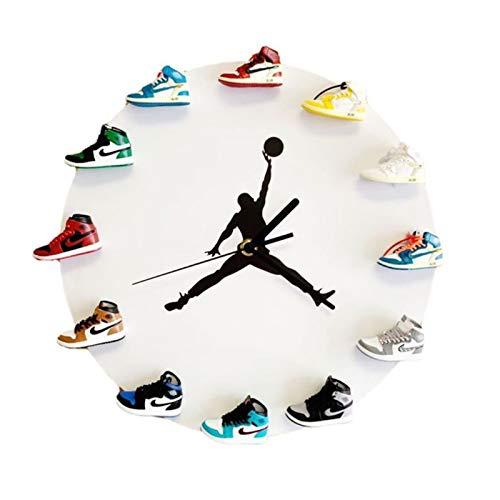"""Reloj de pared con diseño de zapatillas de madera, mini reloj 3D de 12 \""""con el mejor regalo, estilo de decoración de ventilador de baloncesto en dormitorio, cocina y sala de estar,regalo de cumpleaños"""