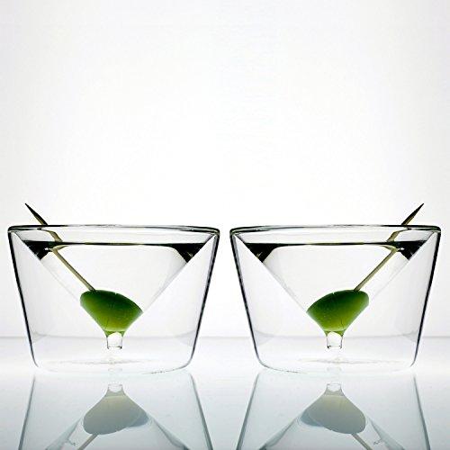 Charles and Marie   InsideOut-Collection   doppelwandige Design Martini- & Cocktailgläser   2er-Geschenkset zur Hochzeit, Jubiläum, Silvester, Junggesellenabschied, James Bond Fans & mehr Anlässen