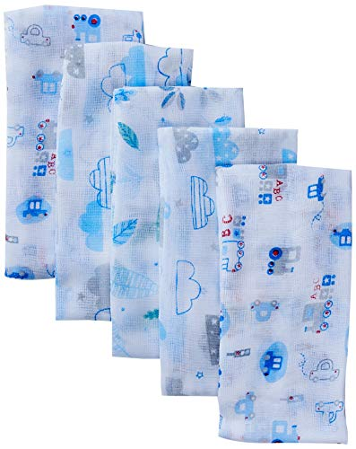 Fralda Especial Estampada com Bainha, Papi Textil, Azul, 70cm x 67cm, pacote de 5