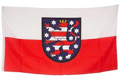 SCAMODA Bundes- und Länderflagge aus wetterfestem Material mit Metallösen (Thüringen) 150x90cm