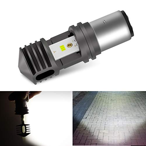 Motorcycle Headlight Bulb BA20D H6 LED High Low Beam Lamp, CSP Chips Super Bright 6000K White Light 2500LM Pack of 1