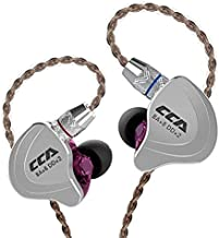 CCA C10 Better in Ear Headphones/Earphones Design HiFi five Drivers Hybrid (4 Balanced Armature + 1 Dynamic) in-Ear Monitors with Detachable Cable 2pin 0.75mm Gold Plated, (purple without mic)