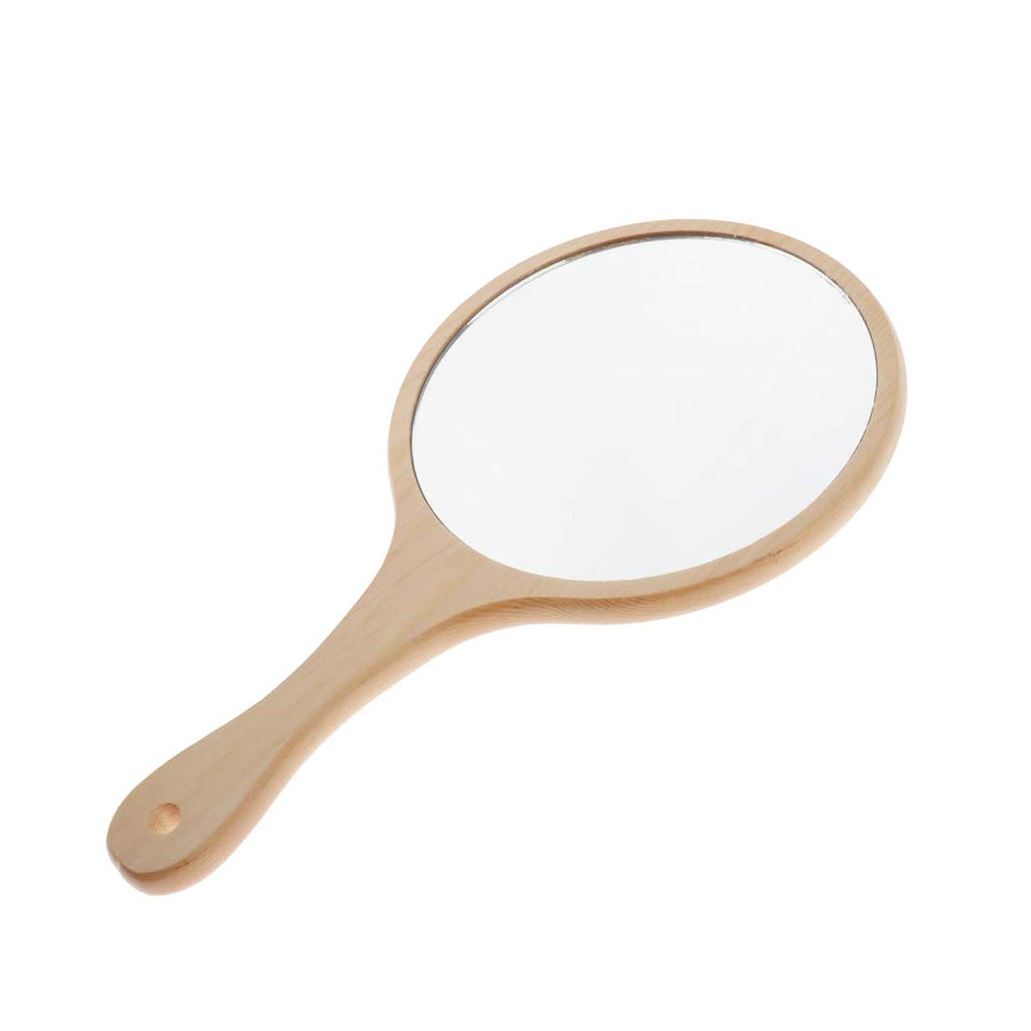 好む矢政策Toygogo 化粧ミラー 鏡 ミラー コンパクト 木製ミラー 手鏡 メンズ ハンドミラー 便利 軽量 保管簡単 全5選択 - ラウンドL