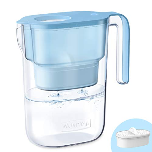 200-Gallon Long-Life Elfin 5-Cup Water Filter Pitcher with 1 Filter, NSF Certified, 5X Times Lifetime, Reduces Lead, Fluoride, Chlorine and More, BPA Free, Blue, by Waterdrop