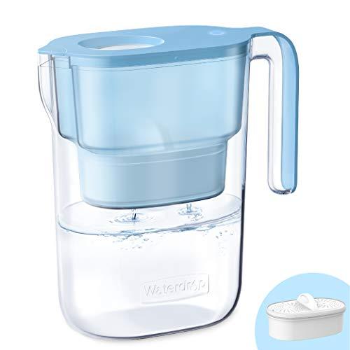 Waterdrop NSF Zertifizierte Wasserfilterkrug 2.5 Liter mit 1×90 Tage Filterkartusche und 7-Stufige Filteration zur Reduzierung von Chlor, Geruch und Mehr, BPA Frei, Blau