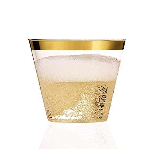 100 Gold Plastic Cups - 9 oz Elegant Party Cups- Wine Clear Plastic Gold Rimmed Cups - Fancy Disposable Golden Rim Old Fashioned Tumblers - GREAT VALUE PACK