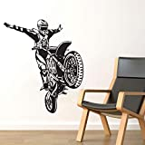 yaonuli Dirt Bike Motocicleta Etiqueta de la Pared Off-Road Motocicleta Stunt Tatuajes de Pared decoración del hogar 58X12cm
