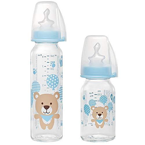 NIP Lot de 2 biberons en verre standard 125 ml avec tétine taille S (silicone, thé à partir de 0 m) & bouteille en verre standard 250 ml avec tétine taille M (lait silicone à partir de 0 m)