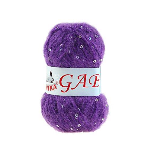 maDDma ® 50g Pailletten-Wolle Strickgarn Gabi Strickwolle Effektstrickgarn, Farbe:12 lila
