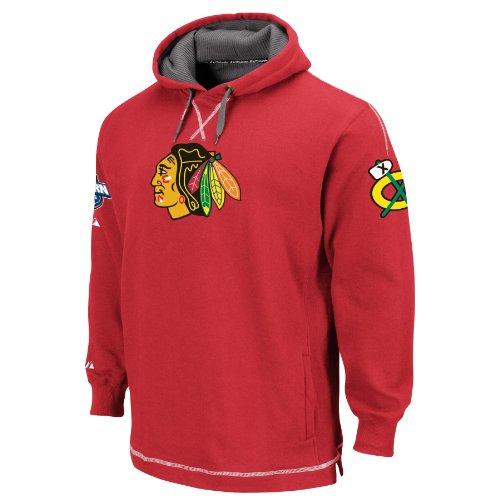 Majestic NHL Chicago Blackhawks die Befreiung langärmelige Hooded Fleece Pullover, Herren, Athletic Red/Granite/White