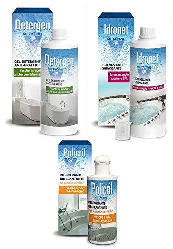 Sanificante + Detergente + Polish per Vasca IDROMASSAGGIO (Teuco,Jacuzzi,Albatros,Hafro,Glass, Novellini, ECC.) Idronet 500ml + Dosatore + Detergen 500ml + Policril 200ml - SPEDIZIONE IMMEDIATA