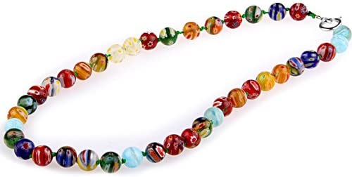 Ecloud Shop® Collar Cadena Abalorios Bolas Cristal de Murano Multicolor