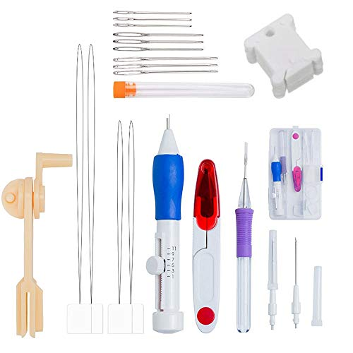 Nsiwem Aguja Magica para Bordar 9 piezas Kit de Herramienta de Bordado Punch Needle Kit Agujas de Punzón Embroidery Kit para Bordado DIY Costura