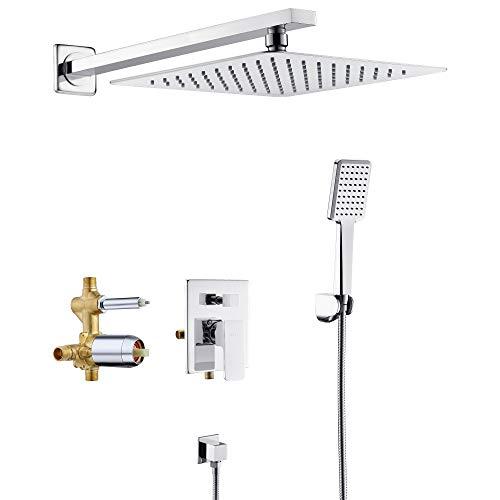 SOKA Shower Faucet Set Chrome 10 Inch Rainfall Shower Head And High Pressure Handheld Shower Head Rain Shower System Shower Trim Kit with Valve Pressure Balance Wall Mount Square Shower Combo Set