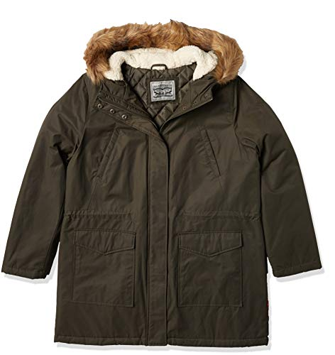 Levi's Women's Performance Sherpa Midlength Parka Jacket, Army green/poly Twill Lining, Medium