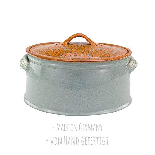 von Hand gefertigter, glasierter Brottopf/Vorratstopf aus Grauem Steingut (Brottopf), 100{3a91ead2fb50a65d6e414d9799d627e0121ce08b889a2205c2b917bbbc805c39} Made in Germany