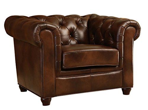 Abbyson Foyer Premium Italian Leather Armchair, Brown