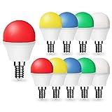 Pack de 10 bombillas de colores LED, 1 W, E14, G45, colores mixtos, rojo, verde, amarillo, azul, blanco cálido, adecuado para decoración del hogar, escenario, fiesta y decoración navideña