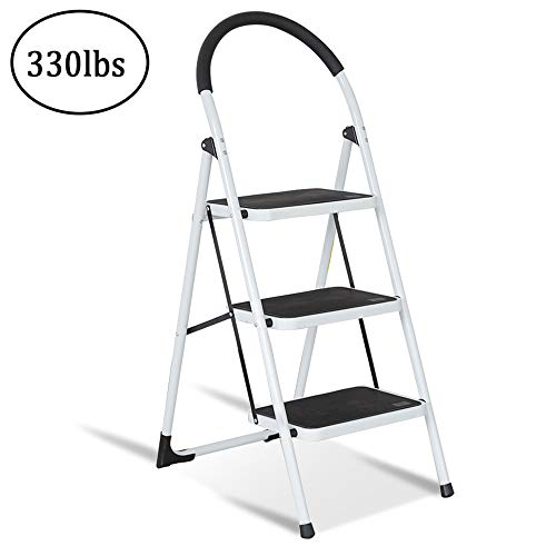 KARMAS PRODUCT Folding 3 Step Ladder Portable Steel Step Stool Wide Platform with Handgrip for Kitchen Home 330lb Capacity