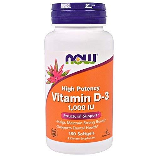 Now Foods, Vitamina D-3, alta potência, 1.000 UI, 180 cápsulas