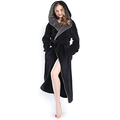 Hooded Women Soft Spa Long Bathrobe,Comfy Full Length Warm Nightdress
