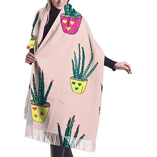 Bufanda de invierno Cachemira Siente lindo Aloe Vera Planta Bufandas Chal elegante...