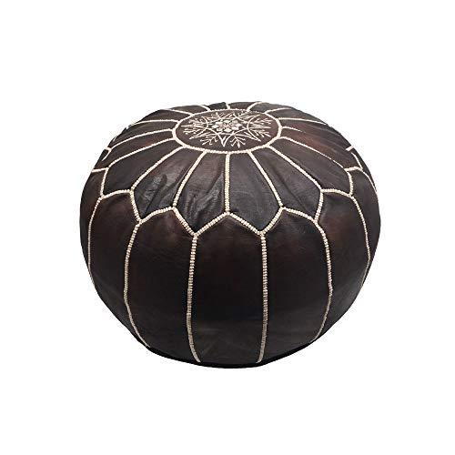 Horus Artesanía de Egipto Marokkanischer Sitzsack aus echtem Leder, handgefertigt mit Füllung (Dunkelbraun)
