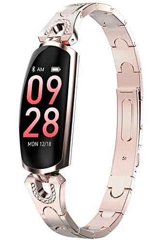 Damen Smartwatch Diamant Fitness Armband aus Edelstahl Herzfrequenz Schlafüberwachung Kalorienzähler Blutdruck Sport Uhr Wasserdicht