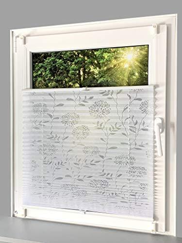 Gardinen Senay Klemmfix-Plissee mit ausgebranntem Blumenmotiv, lichtdurchlässig, komplett verspannt mit Klemmträger, Breite: 70 cm/Höhe: 210 cm, Farbe: weiß