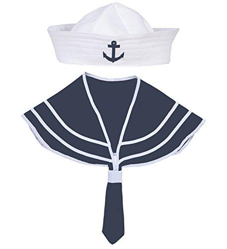 shoperama Matrosen Kragen und Mütze Blau/Weiß Seemann Matrose Matrosin Sailor Marine Hut Schiffchen