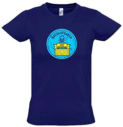 Hausaufgaben - NEBENWIRKUNGEN : Brechreiz, Übelkeit, Schlafstörungen, nervöses Zittern, Atemnot, innere Unruhe, Herzrasen. Kinder T-Shirt Navy-Sky, Gr.164cm