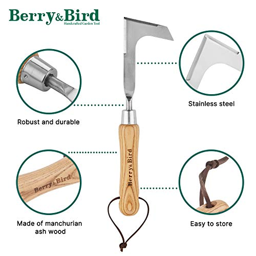 Manual Crack Weeder, Stainless Steel Crevice Weeding Machete Tool, L Shaped Side-Walk Puller Spatula, Grass Cutter Knife Weed Sickle, for Garden Lawn Yard Patio Terrace Paving Moss