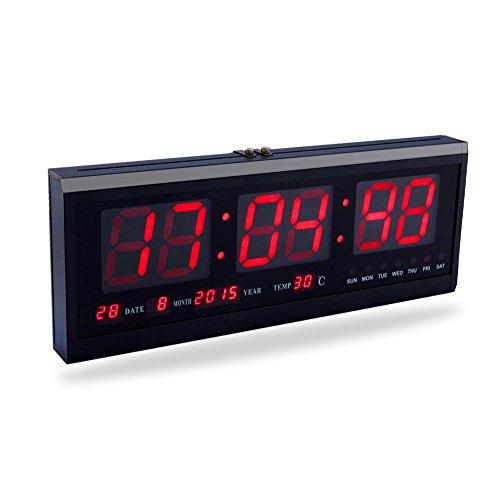 Fdit LED orologio digitale grande con tempo calendario Data e Temperatura Indicatore Orologio da scrivania per casa ufficio ristorante Banco Traduzione, Rosso/Blu/Verde socialme-eu rosso