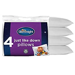 Four Silentnight Just Like Down Pillows, standard size 70 x 45 cm Generously filled with soft-touch hollow fibre to provide a down like feel for extra comfort and warmth for an ideal night's sleep Soft support, suitable for front and back sleepers, h...