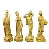 VBNHGF Estatua Decorativa 4 Unids/Set Artesanías De Talla De Madera De Boj Clásica Cuatro Bellezas De La Antigua Estatua China Decoraciones para El Hogar
